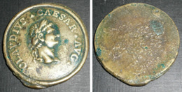 Rare Plaque En Métal Doré (fonte De Bronze ??), Claudius CAESAR César AVG - Obj. 'Herinnering Van'