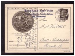 Dt- Reich (008533) Propaganda Ganzsache Heidelberg, Mit HJ Stempel Jungbannlager 200, Gelaufen 1936 Milmersdorf - Allemagne
