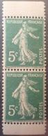 R1189/277 - 1907 - TYPE SEMEUSE - PAIRE VERTICALE DE CARNET - N°137e TIMBRES NEUFS** - Nuovi