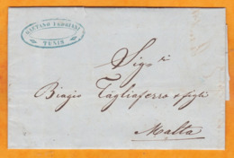 1855 - Lettre Pliée Avec Corresp De Tunis, Tunisie Vers Malta, Malte, Col GB - Règne De Mohammed Bey (Husseinite) - Ohne Zuordnung