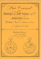 Sept.1876 - BEAUCOURT - MONTRES De JAPY Frères & Cie - PRIX COURANTS - Documents Historiques