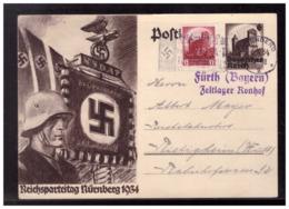 Dt- Reich (008534) Propaganda Ganzsache Reichsparteitag Nürnberg 1934 Mit Lagerstempel Fürht Zeltlager Rondorf, Gelaufen - Allemagne