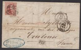Pli De LIEGE 1859 Avec 40c Médaillon Rouge Touché à Drte Oblt 73+ CàDate LIEGE + BELG. AMB. CALAIS E > TOULOUSE - 1858-1862 Medallions (9/12)