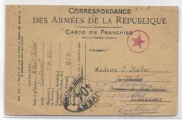 1918 - CARTE FM Avec CENSURE ETOILE ROUGE Du T.M 751 BCM => SUISSE - Postmark Collection (Covers)