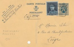 Expres Roulers-Roesselaere /13/03/1933 -cachet Gare / CP Pliée En Deux - Stamped Stationery