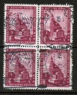 UNITED NATIONS---N.Y.  Scott # 62 VF USED BLOCK Of 4 (Stamp Scan # 549) - New-York - Siège De L'ONU