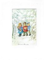 Double Grande Cpm - Illustration J.L. - Bonne Année Enfants Cadeaux Neige Fillette Garçon - JLP CHARME 2790/1 - Mechanical