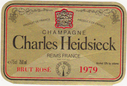 Etiquette Champagne  BRUT ROSE 1979  / Charles Heidsieck (51) REIMS / 750 Ml - Champagne
