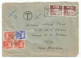 TAXE 10FRX3+1FR NICE 1951 LETTRE DE SUISSE HELVETIA 20CX2 GENEVE - Marcofilia (sobres)