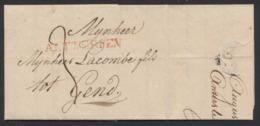 """Précurseur - LAC Datée De Antwerpen 3/11/1820 + Obl Linéaire Rouge ANTWERPEN Et Port """"3"""" Vers Gand - 1815-1830 (Dutch Period)"""