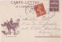 Devant De Carte-lettre De L'espérance . - Marcophilie (Lettres)