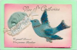 BONNET Sainte CATHERINE Bleu à Dentelle - Oiseau Bleu En Feutrine - Mechanical