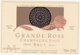 Etiquette Champagne BRUT - LA GRANDE ROSE DE LA CATHEDRALE DE REIMS / MONTAUDON à REIMS / 750 Ml - Champagne