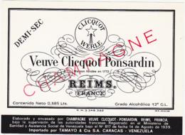 Etiquette Champagne DEMI-SEC - Veuve Cliquot Ponsardin à Reims (51) / 0.385 Lts (VENEZUELA) - Champagne