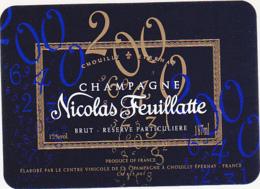 Etiquette Champagne BRUT RESERVE PARTICULIERE 2000 - Nicolas Feuillatte à Chouilly (51) / 187 Ml - Champagne