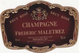 Etiquette Champagne BRUT ROSE - Frederic MALETREZ à Chamery (51) / 750 Ml - Champagne