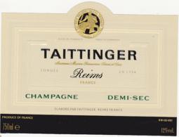 Etiquette Champagne DEMI-SEC - TAITTINGER à Reims (51) / 750 Ml - Champagne
