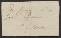 """Précurseur - LAC Datée De Bruges Le 2 Vendémiaire (Année 8 De La République, 1799) Vers Ostende. """"91 / BRUGES"""" - 1794-1814 (French Period)"""