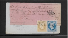 France N°22 & 21 Oblitérés GC 691 Sur Fragment - 1866 - TB - 1862 Napoleon III