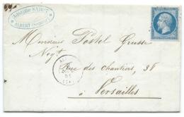N° 14 BLEU NAPOLEON SUR LETTRE / ALBERT SOMME POUR VERSAILLES / 9 MARS 1861 - Postmark Collection (Covers)