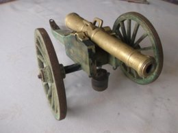 ACIEN GRAND CANON CAMPAGNE NAPOLEON VICTORIEN BUREAU PN BRONZE BOIS RARE 40 CM - Army & War