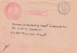 """Lettre Du Centre Des Sous-marins De Lorient  . Griffe  """" Officiel 2ème  E.S.M Lorient """" - Postmark Collection (Covers)"""