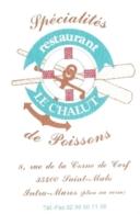 Carte De Visite - Le Chalut - Restaurant : Spécialités De Poissons - Saint-Malo (35) - Visitekaartjes