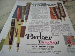 ANCIENNE PUBLICITE UN PORTE PLUME  UN PARKER  1929 - Andere Verzamelingen