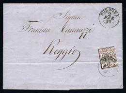 Italy Papel States: Complete Letter Sa 6 Bologna -> Regio 1852 - Kerkelijke Staten