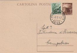 Poggio Sannita. 1947. Annullo Frazionario (15 - 11) Su Cartolina Postale Democratica L. 3 + Integrazione L. 1 - 1946-60: Marcophilie