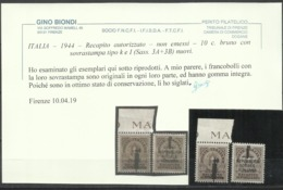 ITALIA REGNO ITALY KINGDOM 1944 RSI REPUBBLICA SOCIALE RECAPITO NON EMESSI SERIE COMPLETA FASCIO MNH CERTIFICATA - 4. 1944-45 Repubblica Sociale