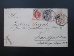 GB 1890 GA Umschlag Mit Zusatzfrankatur Nr. 65 Und 86 Nach Frankfurt Gesndet Mit Ak Stempel Landgerichtsrat Siegert - Briefe U. Dokumente
