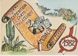 C. P. - 2° EXPOSITION CARTO PHILATÉLIQUE DE MONACO - 1982 - PRINCIPAUTÉ - GILLETTA - TIRAGE A 2000 EXEMPLAIRES - Monaco