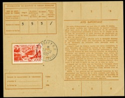 """POSTE AERIENNE N° 27. 500 Fr Sur Carte D'abonnement Aux Timbres-poste, Oblitération C-à-d """"ANNECY R.P. 24/12/52"""" - Poste Aérienne"""