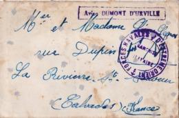 Forces Navales D'Extrème Orient . Lettre Transportée Par L'aviso Dumont D'Urville En 1937 - Poste Navale