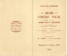 Programme Grand Concert Vocal - Meudon - Dimanche 13 Janvier 1935 - Programs