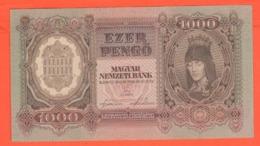 Ungheria  1000 PENGO 1943 Hungary Szalasi Government Ezer  Magyar Banknotes War Currency - Hungary