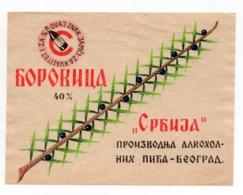 YUGOSLAVIA, SERBIA, BEOGRAD, LABEL FOR ALCOHOLIC DRINK, BOROVICA 40% - Advertising