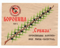 YUGOSLAVIA, SERBIA, BEOGRAD, LABEL FOR ALCOHOLIC DRINK, BOROVICA 40% - Labels