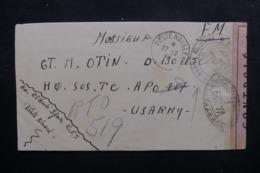 FRANCE - Enveloppe En FM Pour L 'US Army En 1944 Avec Contrôle Postal, Voir Cachet Ancre De Marine - L 46464 - Seepost