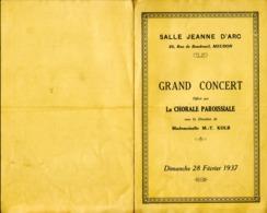 Programme Grand Concert  - Meudon - Dimanche 28 Février 1937 - Programs