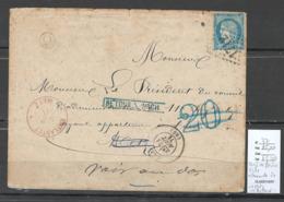 France  Lettre De GRAY Pour METZ - Lorraine - TAXE ALLEMANDE ANNULEE  - 31/08/1871 - 1849-1876: Classic Period