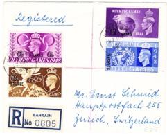 1950 Bahrain  R-Brief: Olympic Game Serie 1948 Mit Aufdruck; Nach Zürich - Levante Británica