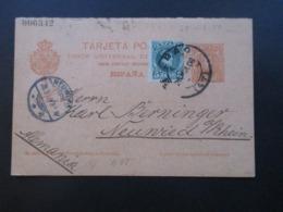 Spanien 1906 Ganzsache P 39 II Komplette Doppelkarte Mit Zusatzfrankatur Bilbao - Neuwied - Briefe U. Dokumente