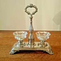 Christofle Perles - Présentoir Art Nouveau En Métal Argenté - Poinçon Balance - Cristal Taille Baccarat - Argenteria