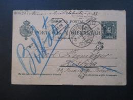Spanien 1906 Ganzsache P 36 II Komplette Doppelkarte Lisboa / Bilbao Mit Stempel Retour / Vermerke Tolle Karte!! - Briefe U. Dokumente