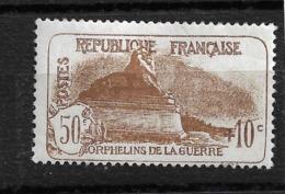 N 230 Orphelins Neuf ** 50c+10c Brun  Côte 95€ - Ungebraucht