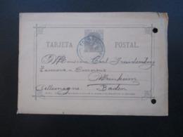 Spanien 1887 Ganzsache P 7 König Alfons XII Mit Blauem Stempel Tolosa Nach Baden Gesendet - Briefe U. Dokumente