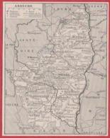 Carte Du Département De L'Ardèche (07). Préfecture, Sous Préfecture, Chef Lieu , Commune, évêché... Larousse 1931. - Documents Historiques