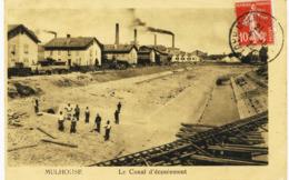 8053 -  Haut Rhin  :  MULHOUSE  : LE  CANAL D' ECOULEMENT ( CONSTRUCTION )  -    Circulée En 1922 - Mulhouse
